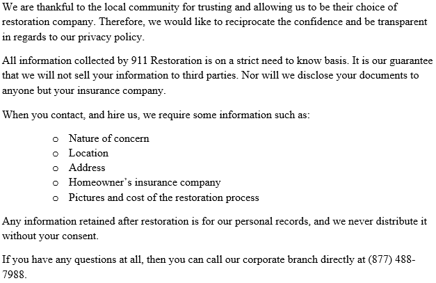 911 Restoration of Douglas County Privacy Policy
