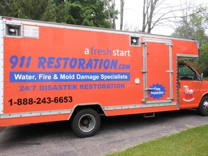 Water Damage Perry Park Box Truck Parked At Residential Job Location