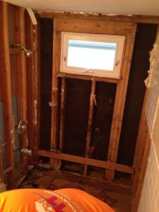 Water Damage Restoration Of Downstiars Wall