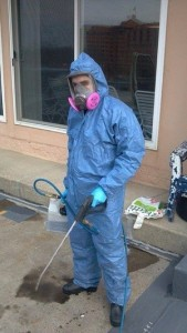 Water Damage Restoration Technician With Tools